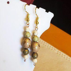 "1.5"" Ceramic and Jasper Bead Layer Dangle Earrings"
